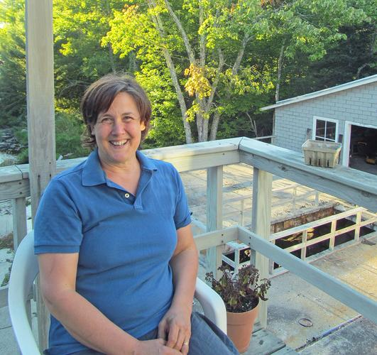 Leslie Ross takes a break outside